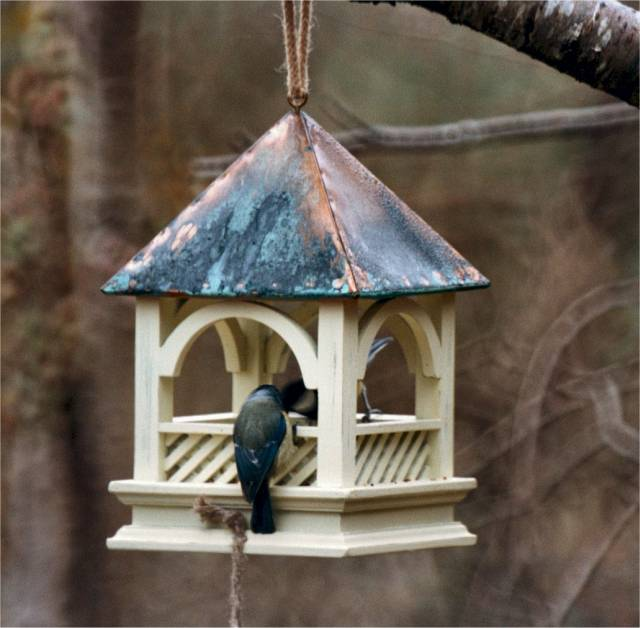 BEMPTON HANGING BIRD FEED TABLE WITH COPPER ROOF (GREEN)