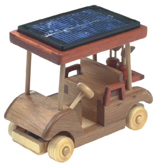Solar powered wooden golf cart