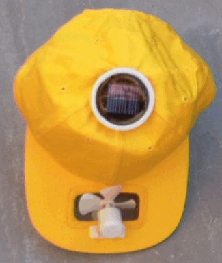 Solar cool cap with round cell (yellow)