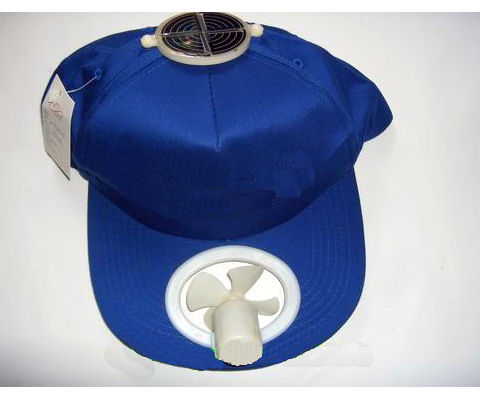 Solar cool cap with round cell (blue)