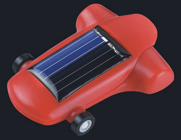 Red solar-powered racing car