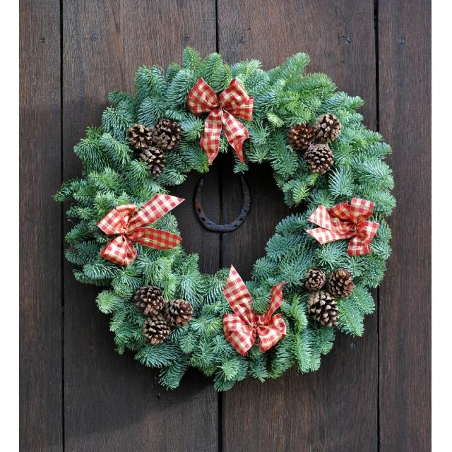 Natural Tartan Decorated Wreath 10in